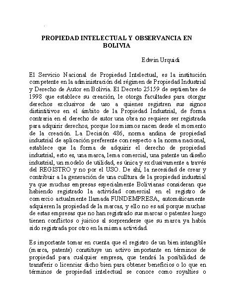 Propiedad Intelectual y Observancia en Bolivia